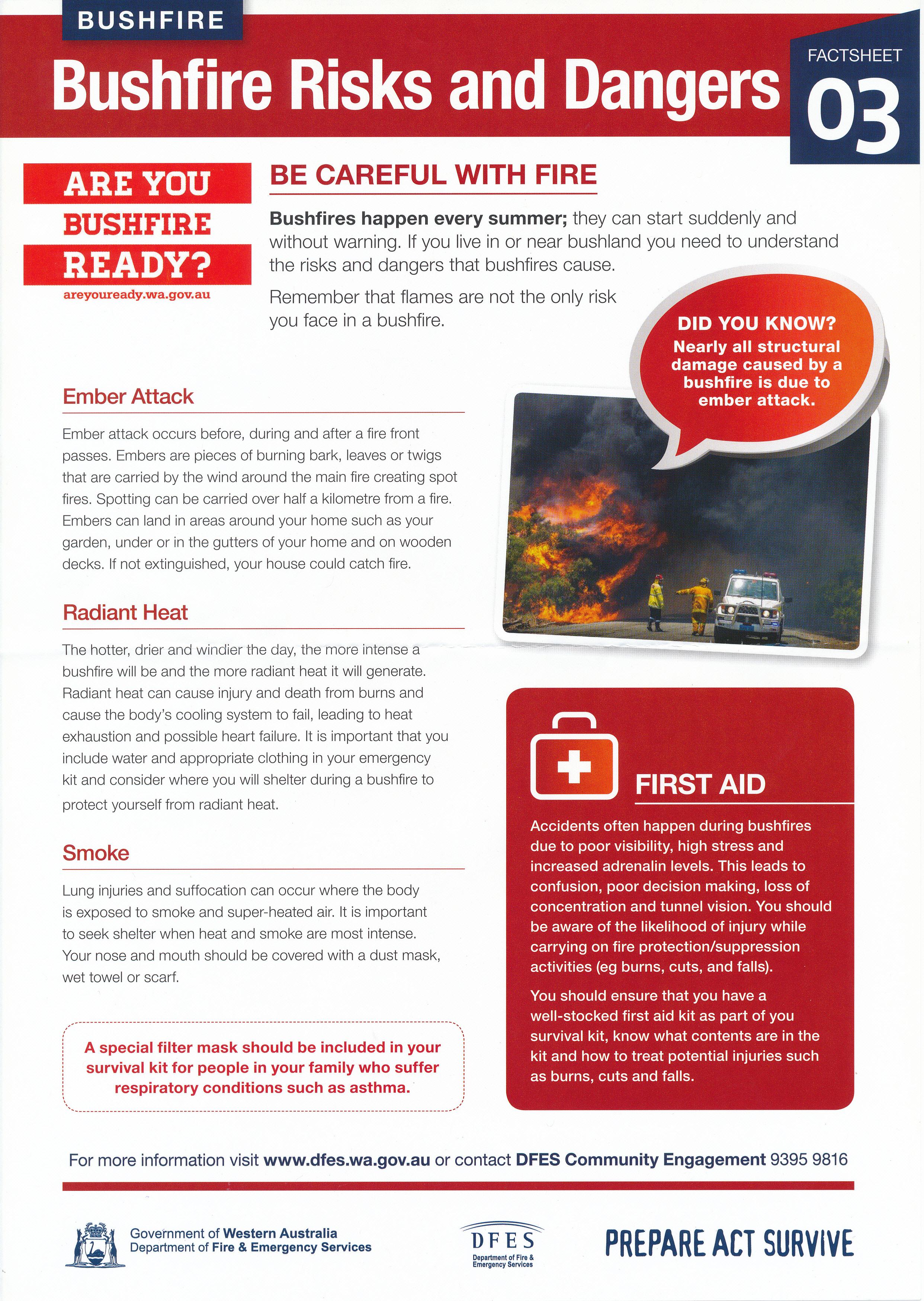 Buschbrand, Verhalten bei Feuer